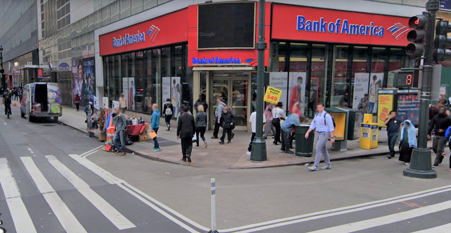 Bank of America financial center with walk-up ATM | 1293 Broadway, New York, NY 10001