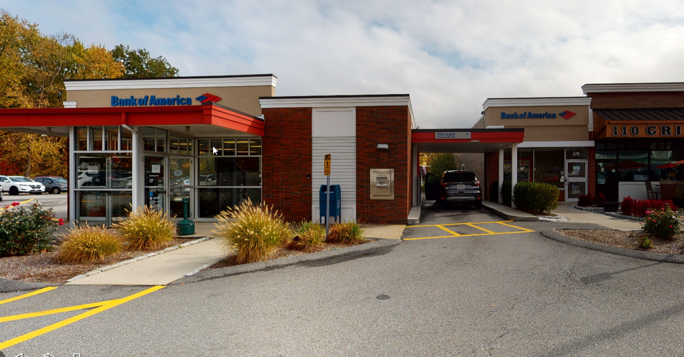 Bank of America financial center with drive-thru ATM   179 Commonwealth Rd, Wayland, MA 01778