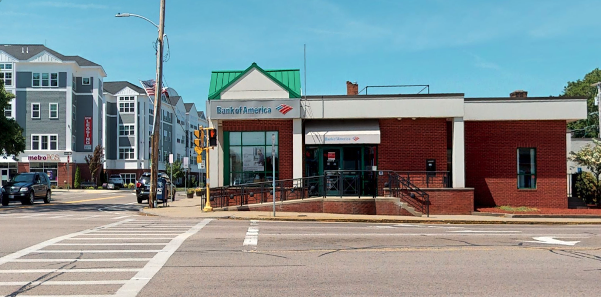 Bank of America financial center with drive-thru ATM   355 N Main St, Mansfield, MA 02048