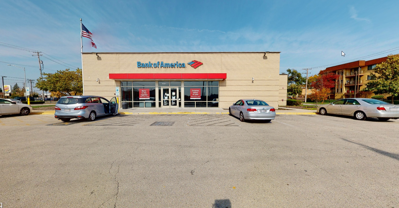 Bank of America financial center with drive-thru ATM and teller   4301 N Harlem Ave, Norridge, IL 60706