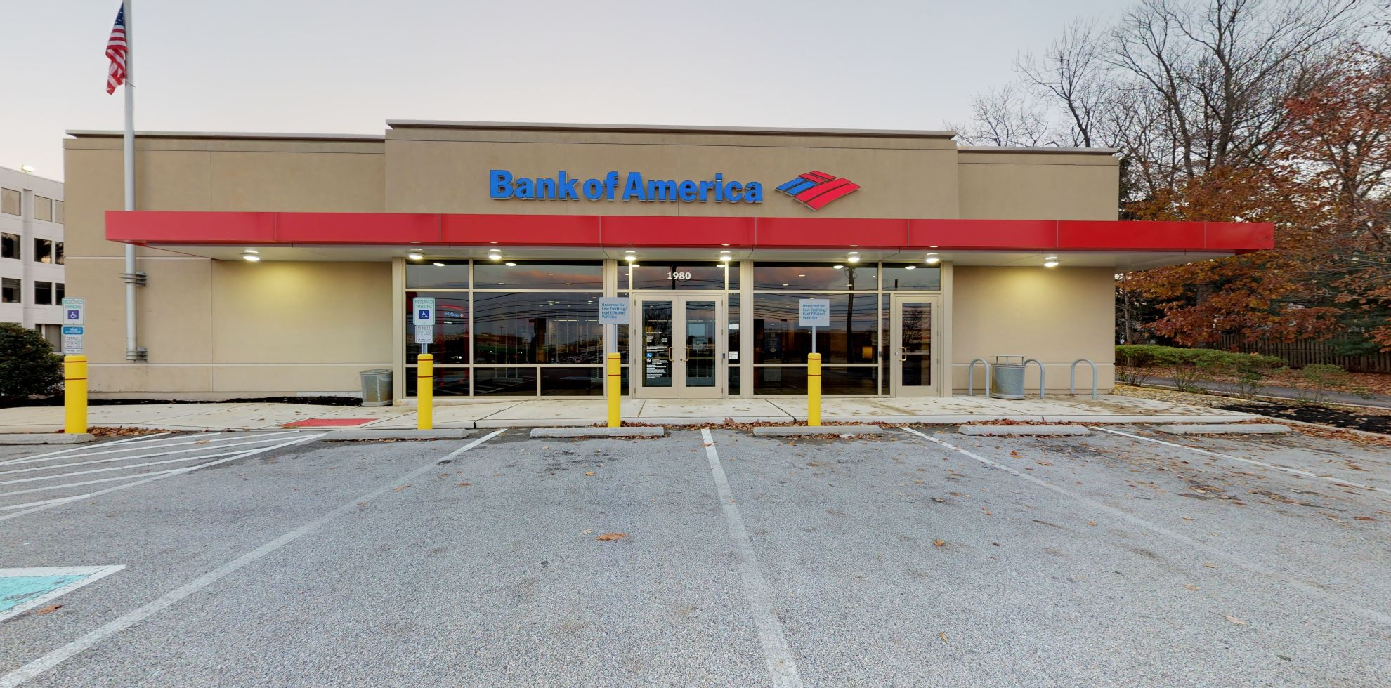 Bank of America financial center with drive-thru ATM | 1980 Sproul Rd, Broomall, PA 19008