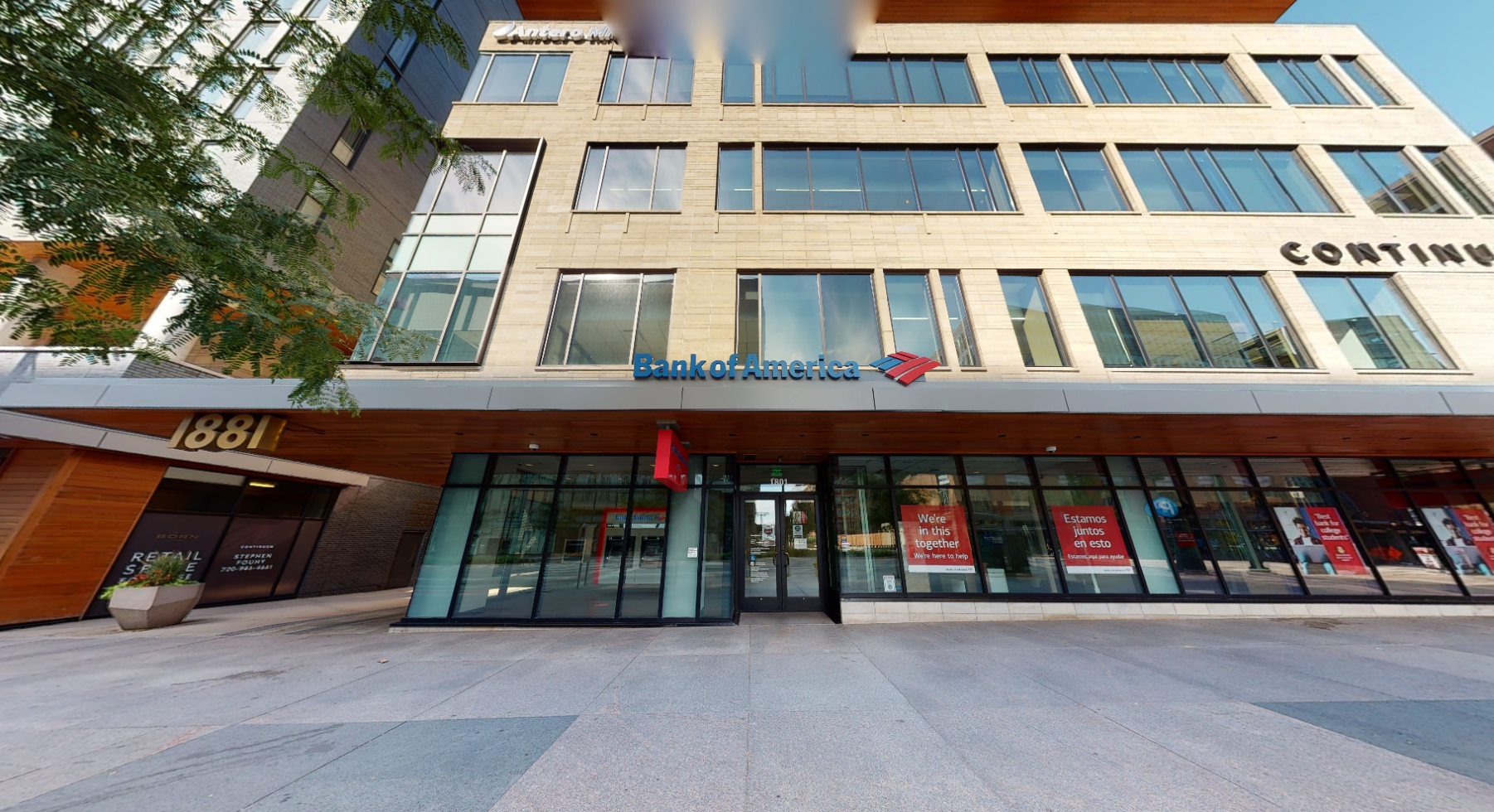 Bank of America financial center with walk-up ATM   1801 16th St, Denver, CO 80202