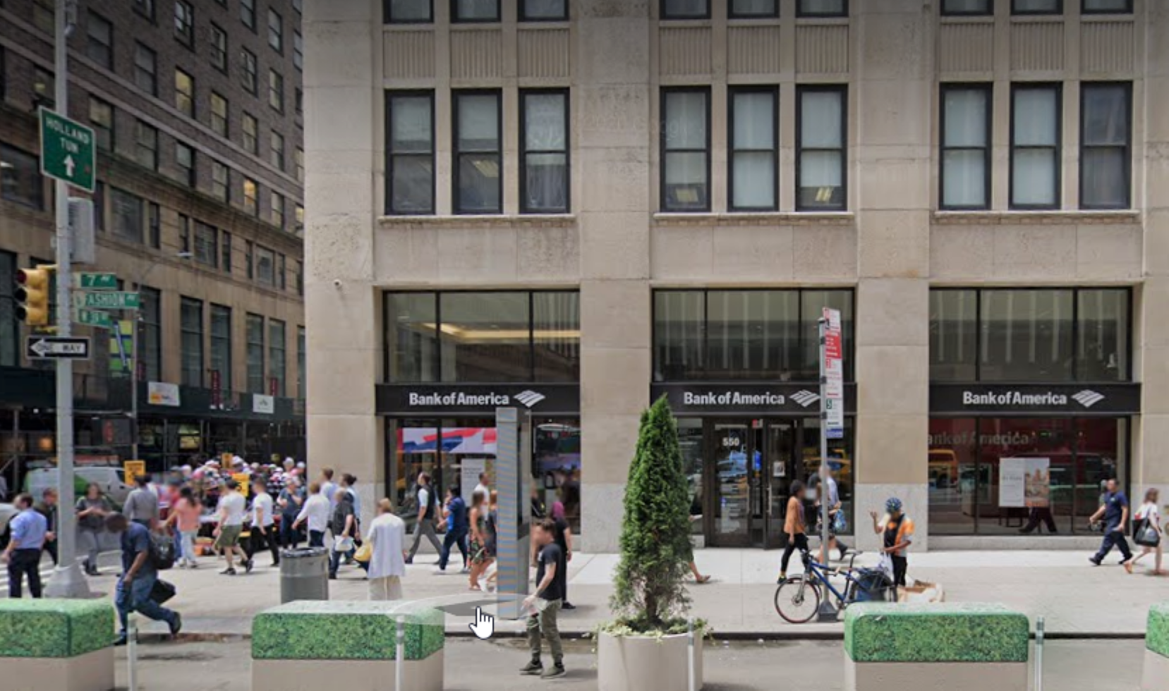 Bank of America financial center with walk-up ATM   550 7th Ave, New York, NY 10018