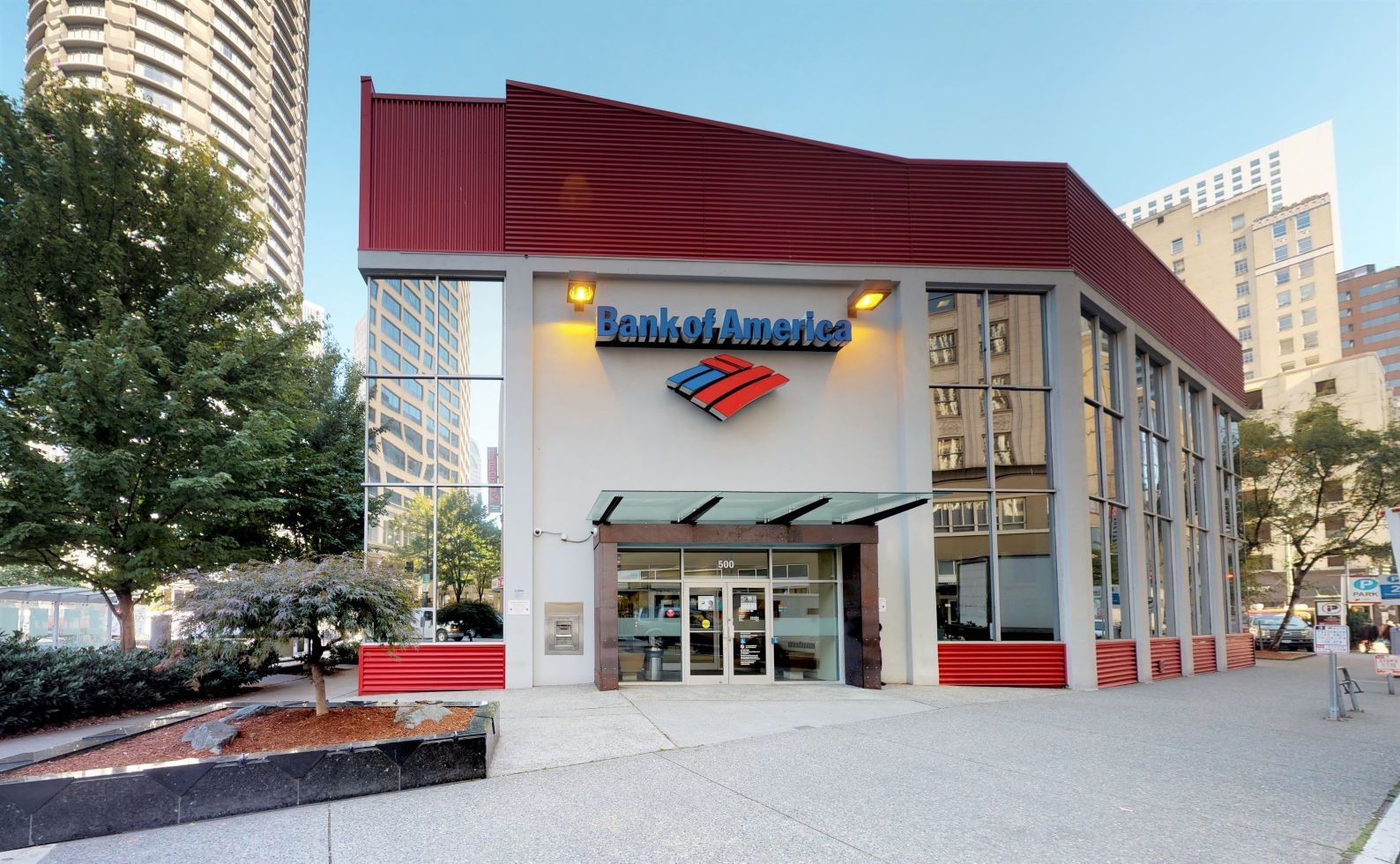 Bank of America financial center with walk-up ATM   500 Olive Way, Seattle, WA 98101